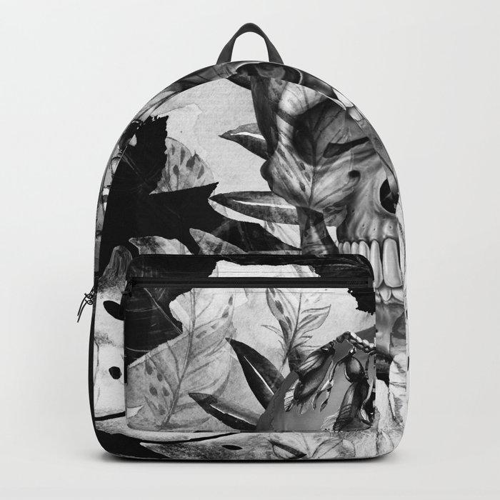 Black White Boho Skull Backpack