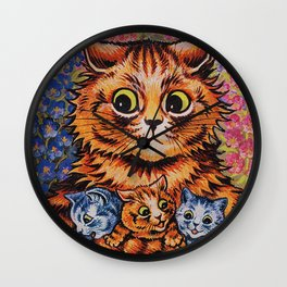 Cat and Her Kittens-Louis Wain Cats Wall Clock