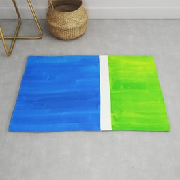 Abstract Minimalist Mid Century Modern Watercolor Geometric Squares Rothko Lime Green Marine Blue Rug