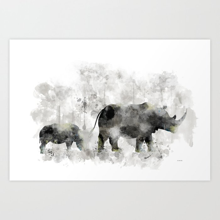 Rhino and Calf Art Print