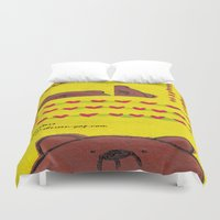 coasters Duvet Covers featuring Grumpy Bear - Coasters by Shereen Yap