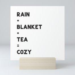 COZY = RAIN + BLANKET + TEA Mini Art Print