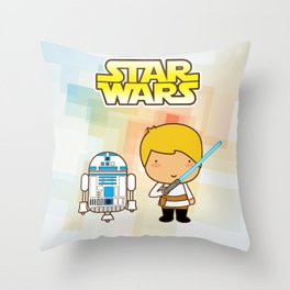 Luke Skywalker and R2D2 Throw Pillow