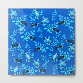 Blue Birds and Leaves Nature Décor Pattern Graphic Design Metal Print