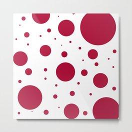 Crimson & White Bubbles Metal Print