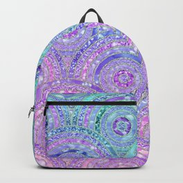Aqua Blue Purple and Pink Sparkling Glitter Circles Backpack