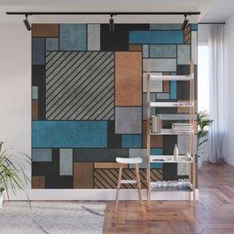 Random Concrete Pattern - Blue, Grey, Brown Wall Mural