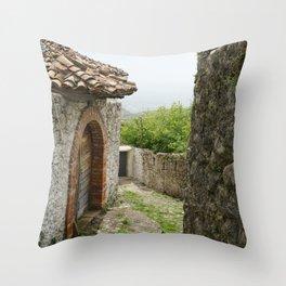 Ancient Stone Houses in Krujë, Albania Throw Pillow
