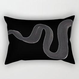 Black And White Minimalist Mid Century Abstract Ink Art Genie Aladdin Smoke Jin Lamp Minimal Smoke Rectangular Pillow
