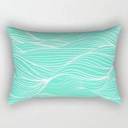 Modern white turquoise hand drawn waves abstract geometric pattern Rectangular Pillow