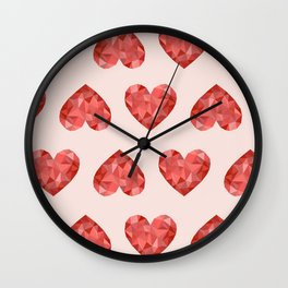 Gem hearts (PANTONE OF THE YEAR 2019) Wall Clock