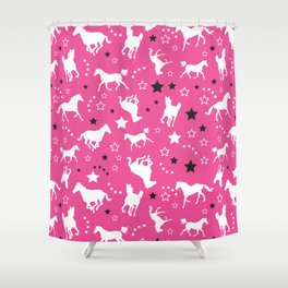 Horse Pattern Pink Horses Shower Curtain