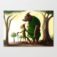 robin hood Canvas Prints featuring Robin Hood & Little John by Jehzbell Black
