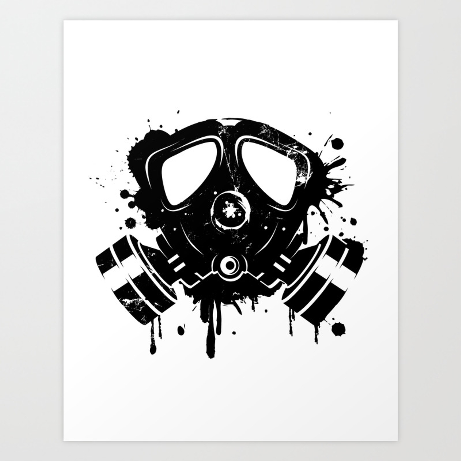 Gas mask graffiti art print