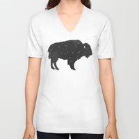 buffalo V-neck T-shirts featuring Mystic Buffalo  by Terry Fan
