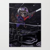 rocket raccoon Canvas Prints featuring Rocket Raccoon  by kuri