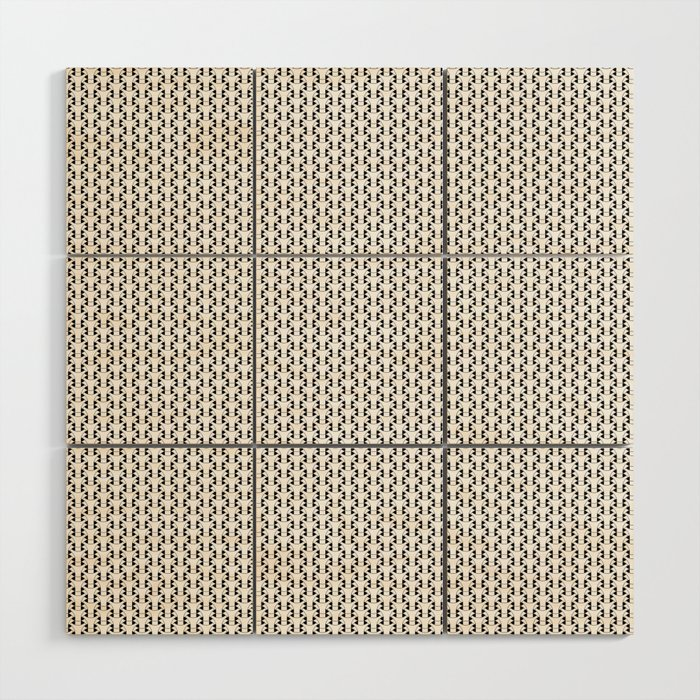 Black and White Basket Weave Shape Pattern 2 - Graphic Design Wood Wall Art