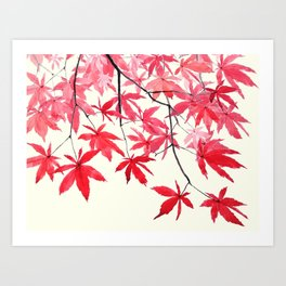 red maple leaves watercolor painting Art Print