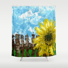 Fenced Sunflower Shower Curtain