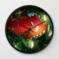 pixies Wall Clocks featuring Secret Life Of Pixies by Jia Sen