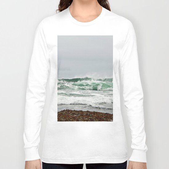 Explosive Green Surf of the St-Lawrence Long Sleeve T-shirt