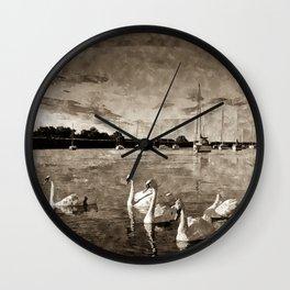Serene Swans Watercolor  Wall Clock