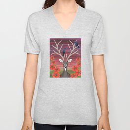 white tailed deer, crows, poppies Unisex V-Neck