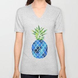 Bright Blue Pineapple Unisex V-Neck