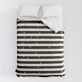Modern black white gold polka dots striped pattern Bettbezug