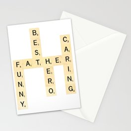 FATHER-FUNNY-BEST-HERO-CARING - Custom Scrabble Art and Accessories for Father's Day Stationery Cards