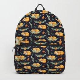 Animal Pattern Sleeping Fox Watercolor Navy Orange Backpack