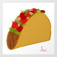 taco Art Prints featuring Taco by AlexavierTaiga