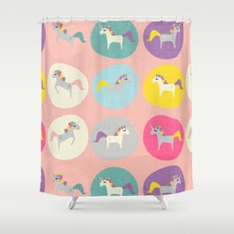 Cute Unicorn polka dots pink pastel colors and linen texture #homedecor #apparel #stationary #kids Shower Curtain