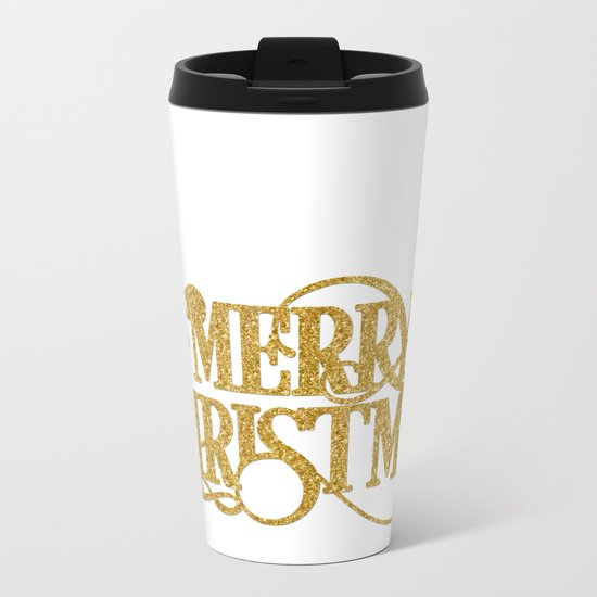 Merry Christmas - Gold glitter Typography Metal Travel Mug