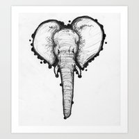 Elephant Sketch Art Print