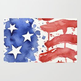 American Flag Watercolor Abstract Stars and Stripes Rug
