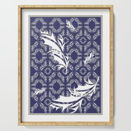 Silver and White Feathers Motif (Navy) Serving Tray