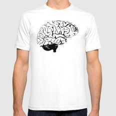 Braaains Mens Fitted Tee SMALL White