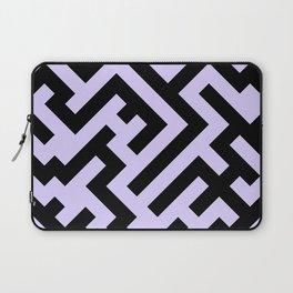 Black and Pale Lavender Violet Diagonal Labyrinth Laptop Sleeve