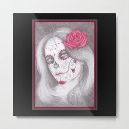 Dia De Los Muertos - Rose Metal Print