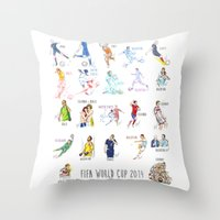 neymar Throw Pillows featuring FIFA World Cup 2014 Moments! by Moonsia