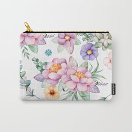 Pastel pink lavender green watercolor hand painted floral Carry-All Pouch