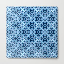 Blue Geometric Tiles Metal Print