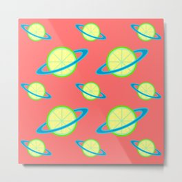 Planet Lime Pattern | Solar System | Space | Citrus Planets | Tropical Fruit | pulps of wood Metal Print