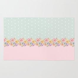 Vintage green pastel pink yellow floral polka dots Rug