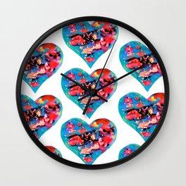 Tie-Dye Hearts Wall Clock