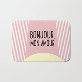 Bonjour Mon Amour Pink #babygirl #nursery #childrensroom #baby #babyshower #illustration #gift Bath Mat