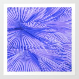 Lilac Purple Tropical Palm Leaves With Blue Accents Art Print
