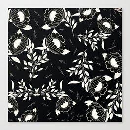 Black florals Canvas Print