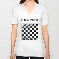 chess V-neck T-shirts featuring Chess Game by Maxvision